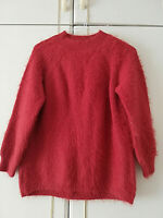 PRIMARK WOMENS RED FLUFFY KNITTED JUMPER SIZE 12 / 14 M CREW NECK LENGTH 26