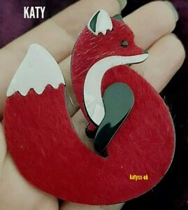 Vintage Art Deco Style Celluloid Red Faux  Fur Coat Fox Brooch Broach Pin Gift