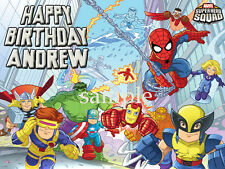 SUPER HERO Squad Edible Birthday CAKE Image Icing Topper FREE SHIPPING