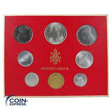*** LIRE KMS VATIKAN 1967 BU Lira Coin Set Vaticano Münzen vor Euro ***