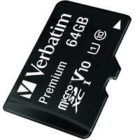 Verbatim Premium Micro SD 64 GB SDXC Speicherkarte Class 10 + Adapter SD Karte