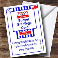 Funny Joke Tesco Value Spoof Personalised Retirement Greetings Card