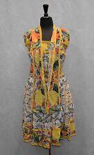 B6 Auth DOLCE GABBANA Multicolor Elastic Waist/Bust Pleated Flare Dress Size 38