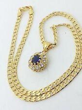 Collana Oro Giallo Donna Ciondolo Punto luce Zircone Blu 10 Zirconi Girocollo