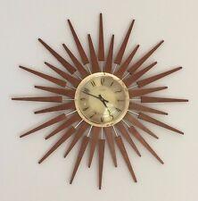 """Vintage Retro Anstey & Wilson Sunburst Starburst Teak Clock 25"""" Mid Century VGC"""