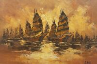 Rare Signed O. Man - Boats in Harbor - Seascape Vintage Painting Hong Kong Art