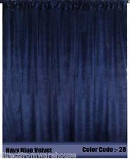 Saaria Velvet Curtain Panel Drape 8'W x 8'H Home Theater Curtain - NAVY BLUE