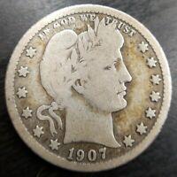 1907 O Barber Quarter Fine F or Very Good Collectable Silver Liberty Coin