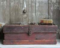 Antique Red Wood Carpenter's Chest with Insert & Iron Handles, Vintage Tool Box