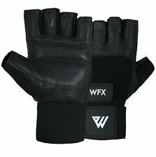 WFX Fitness Gloves Men Wrist Protection Fingerless With Black Strap Palm Paded