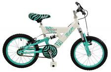 "Townsend Tiger Kids Girls 16"" Single Speed Full Suspension MTB First Bike White"
