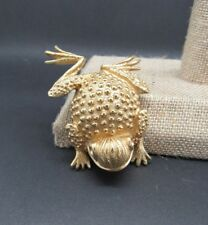 "VINTAGE SIGNED ERWIN PEARL LARGE 2 1/4"" GOLD FROG BROOCH PIN"