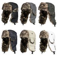 Adult Men Winter Trapper Trooper Earflap Warm Russian Ski Hats Fur Bomber Cap