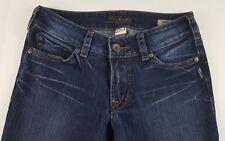 SILVER SUKI Size 29/32 Womens  Dark Wash Distressed Cotton Blend Boot Cut Jeans