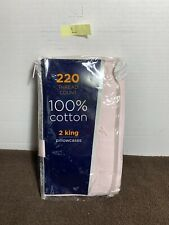 Liberty 220 Thread Count 100%-Cotton 2-King Pillowcases, Pink