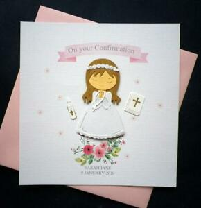 Confirmation / Communion / Christening card with a girl topper / pink