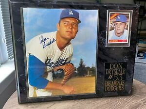 DON DRYSDALE - Plaque with Autographed photo and 1966 Topps Baseball Card- READ