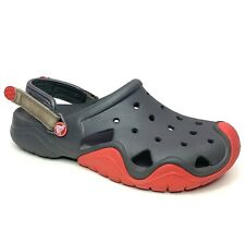 Crocs Men's Swiftwater Clog Mule Sandal Adjustable Heel Strap Water Shoe 9 Gray