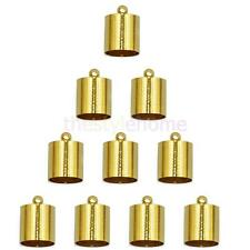 10pcs Tube End Bead Cap for 9mm 10mm Cord Jewelry Necklace Findings Gold