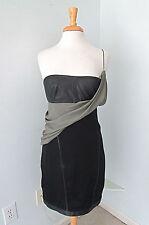 New NWT Alexander Wang black leather draped gray chiffon bustier dress Sz 8