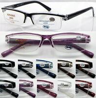 L146 Classic Plastic Semi-Rimless Reading Glasses Spring Hinge Arms More Colors