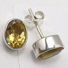 925 Sterling Silver Natural CUT CITRINE ECONOMIC Studs Earrings .9 CM ONLINE BUY