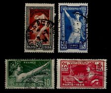 JEUX OLYMPIQUES Paris 1924, Oblitérés = Cote 20 € / Lot Timbres France 183 à 186