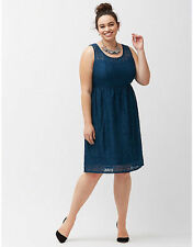 LANE BRYANT WOMEN'S BLUE SLEEVELESS LACE FIT & FLARE LINED DRESS PLUS Sz 26