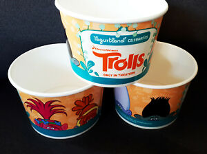 Trolls Movie collectible Yogurtland Cups (NEW/unused) Lot of 3 Dreamworks