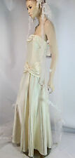 Jessica McClintock Bridal Ivory Liquid Satin Dress 10 Strapless Hollywood Glam