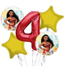 New Disney Moana 4th Birthday Balloon Bouquet 5 pieces
