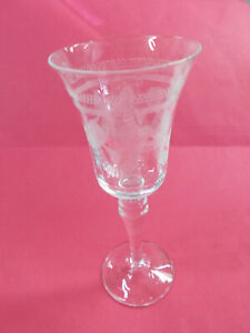 LOVELY CRYSTAL ETCHED WINE GLASS - 16 1/2 cm HIGH EXC # 504