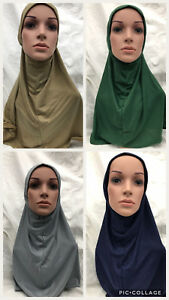 MUSLIM KIDS GIRLS ISLAMIC HEADSCARF PLAIN SCARF ADULT HIJAB ONE PIECE CHILDREN