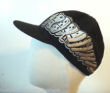 Domino Hat Hip hop fitted 7 1/4 57.7cm Graffiti rap black cap silver 90s vtg
