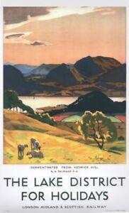 Vintage LMS Derwentwater Lake District Railway Poster A4/A3/A2/A1 Print