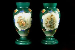 Antique Satin Glass  Vases  Hand painted Women Angels Floral Green