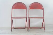 Two Childs Metal Folding Chair Red Industrial Design Age Mid Century