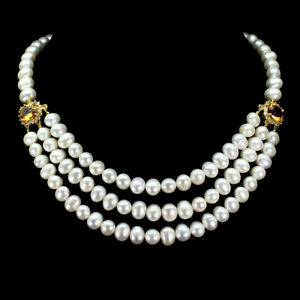 Unheated Oval Citrine 11x9mm White Topaz Pearl 925 Sterling Silver Necklace 20in