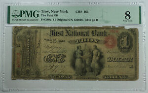 1865 $1 Troy New York NY First National Bank CH# 1631 Fr. 380a PMG VG-8