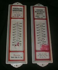Set-2 Vintage Throne Monument/Perepelytz Metal Advertising Outdoor Thermometers
