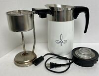 Vintage Corning Ware Black Trefoil Electric 10 Cup Percolator Coffee Pot