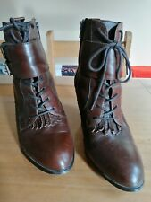 Marks & Spencer Limited Collection leather lace up Victorian heel boots UK 7.5
