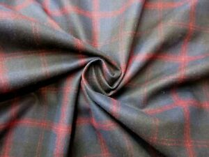 """Pendelton Navy Black and Crimson wool fabric by the yard X 58"""" wide"""