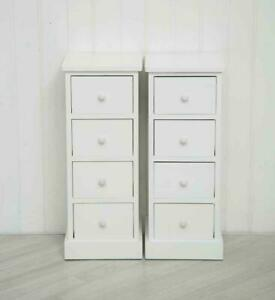 Pair of Tall White Wooden Four Drawer Cabinets Bedside Tables Tallboy Unit