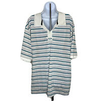 Oakley Mens Polo Golf Shirt Size XXL Striped Aqua Blue and White Short Sleeve