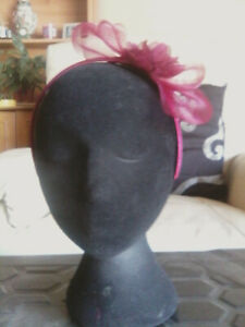 Fascinator - wine red  sinamay with flower on a  headband