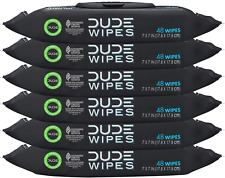 Dude Wipes Flushable Wipes Dispenser 6 Packs 48 Wipes, Unscented Wet Wipes with