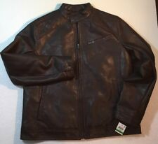NEW INC Mens Faux Burgundy Mahogany Brown Leather Jacket Size Large L Lined Coat