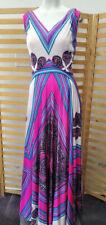 Vintage 1960's Elinor Gay Psychedelic Maxi Dress Funky Bright Hippie