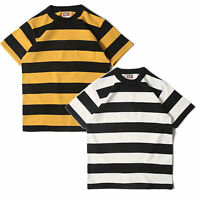 BOB DONG Vintage Striped Short Sleeve T-shirt Mens POCKET TEE Cotton Casual Coat